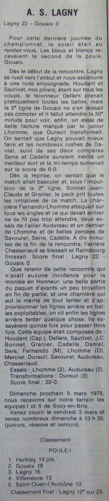 Saison 1977 1978 As Lagny Rugby