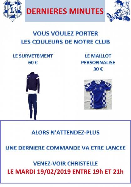 1f99cf4f60aff7 Commandes - Dernières minutes - [AS Lagny Rugby]